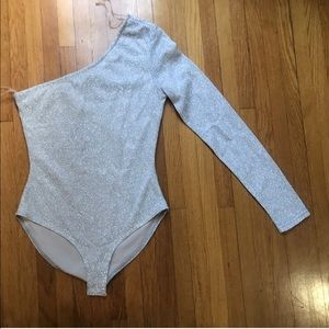 Tops - Silver shiny body suit